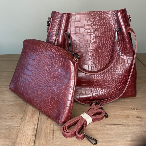 Maroon faux leather crocodile bag